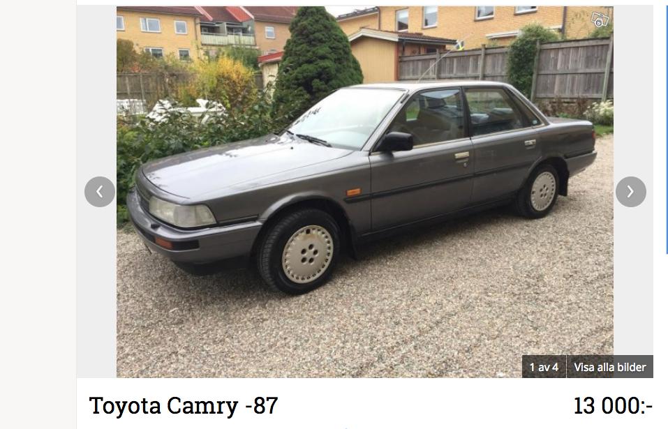Toyota Camry med 16-ventilsmotor kom 1987. Den blev snabbt en tjänstebilsfavorit med sina fina prestanda och höga utrustningsnivå. Här är dock en ovanlig snikversion utan spoiler på bakluckan och enklare inredning.