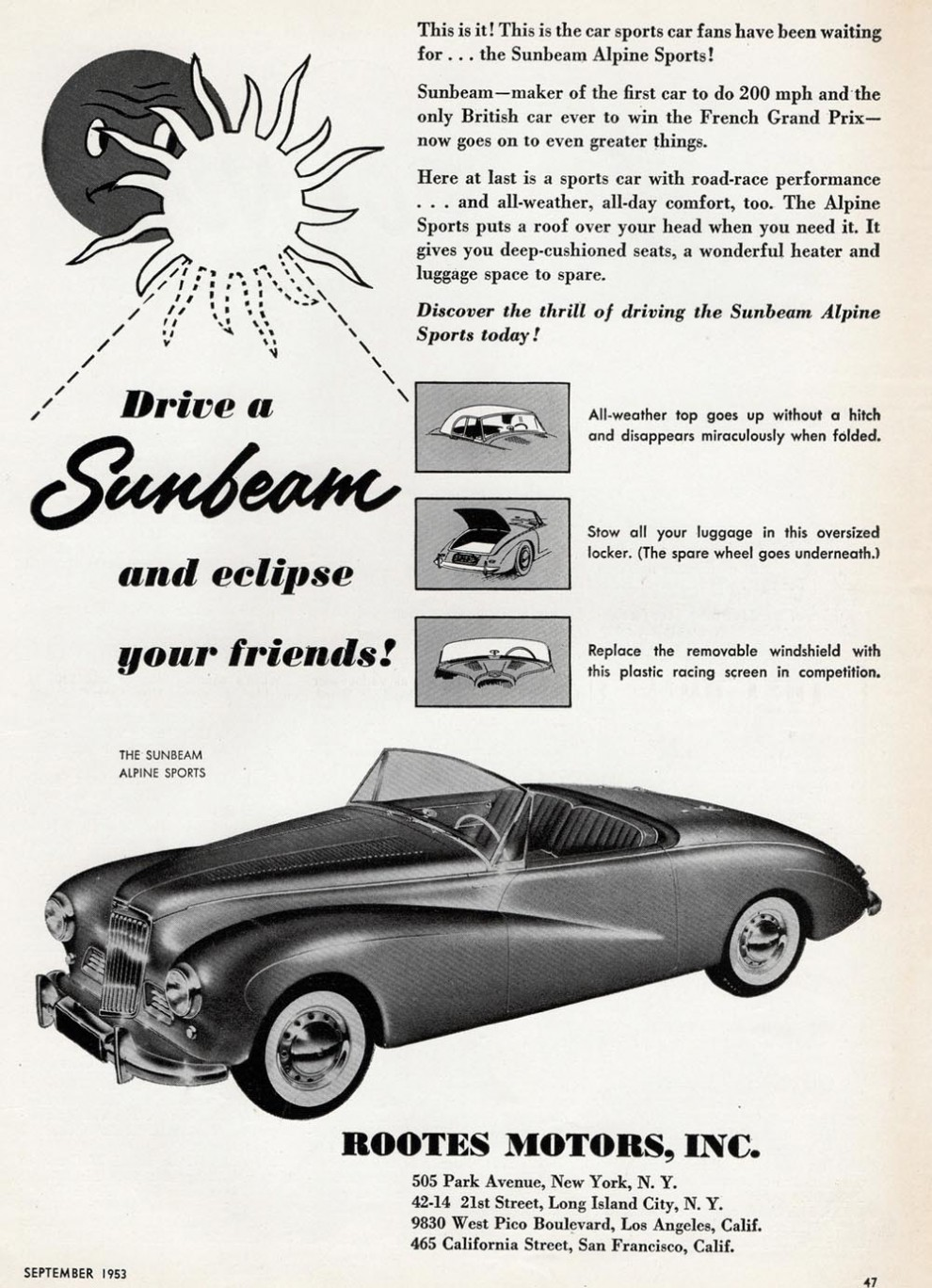 Sunbeam Alpine 1953, med flärd och komfort än Austin Healey.