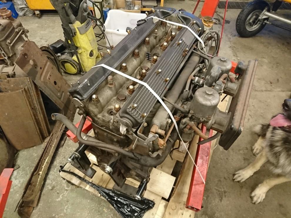 Jaguarmotorn är stor och matchar utan problem Dodgens originalmaskin i yttermått, men så vackra dessa motorer är. Framförallt i äldre utförande med polerade släta ventilkåpor. Vem har sådana på lager till mig?
