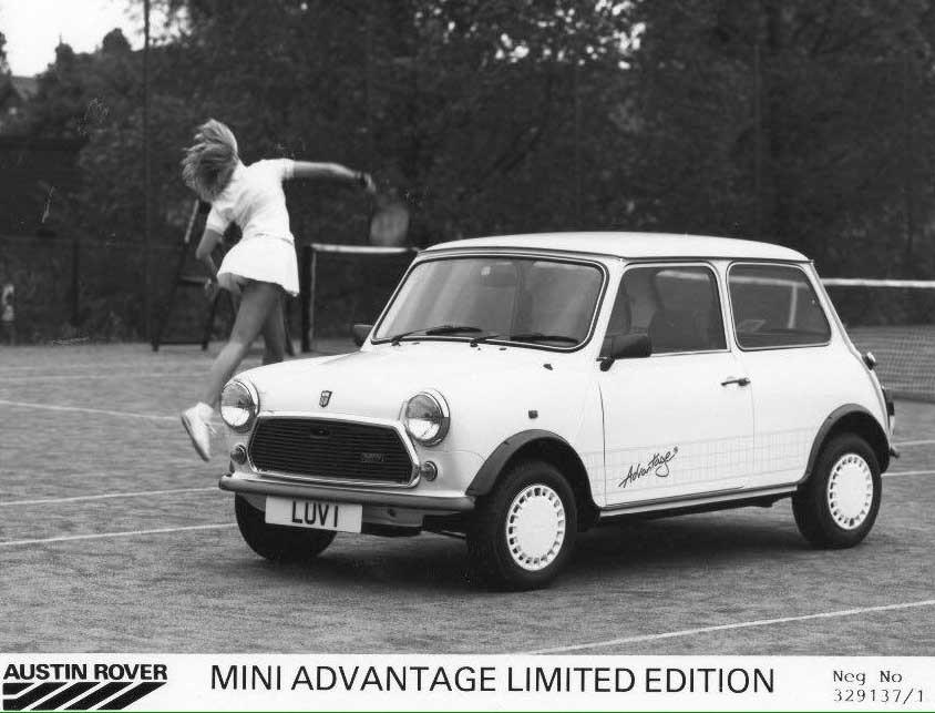 Likaså gick Mini Advantage i modefärgen vitt, 1987.