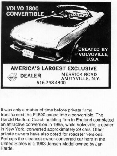 1800 cabriolet, som gjordes av Volvoville i New York