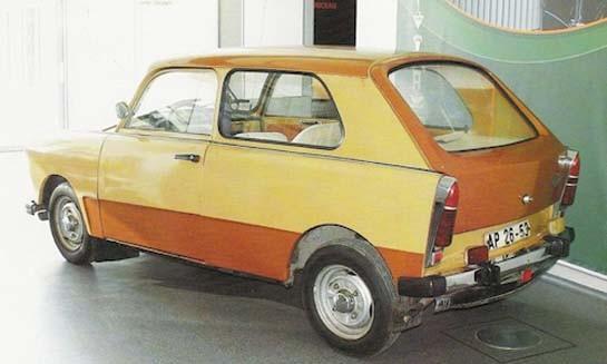 Trots att Trabantproduktionen var rätt enahanda under alla år, fanns det gott om idéer hur den skulle moderniseras. P602 från 1972 med rymlig hatchbackkaross.