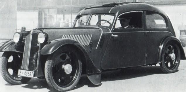 Efter Jörg Skafte-Rasmussen lämnade DKW utvecklade han bland annat denna framhjulsdrivna bil hos sitt nya bolag Framo. Rebell hette den men kom dock itne att gå i produktion.