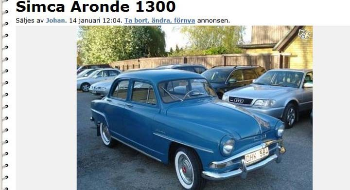 Svensksåld Simca säljes