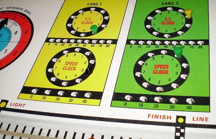 """ET clock, speed clock och """"racing spinner dial""""...  Det fanns även ett slag indexlista för olika S/A dragraceklasser som var anpassat för spelet."""