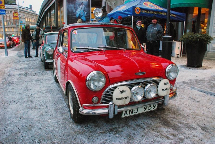 I år är det 50 år sedan Paddy Hopkirk och Henry Liddon vann Monte Carlo-rallyt med en Morris Cooper S. Det uppmärksammades vid starten i Stockholm.