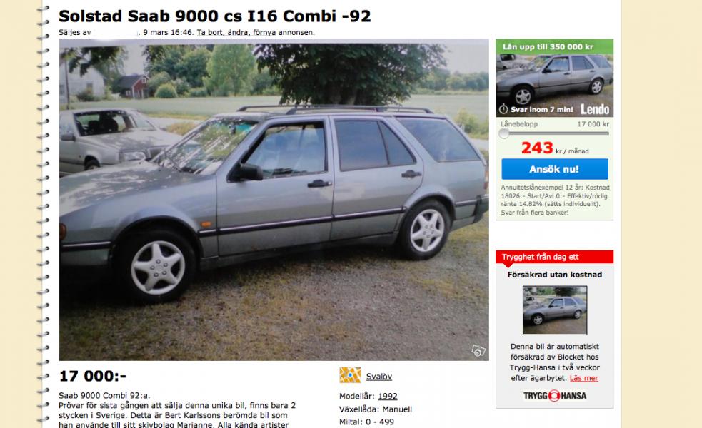 Berts unika Saab 9000 kombi