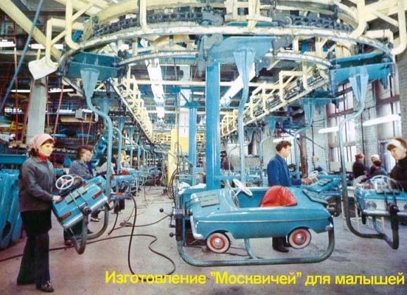 Moskvitch 412 i miniatyr på löpandebandet.