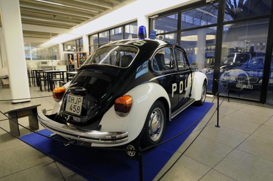 En VW 1303S 1974 som användes fram till 1983 av av Norrmalmspolisen i Stockholm. Omkring 1 000 stycken Volkswagen typ 1 användes av den svenska polisen.