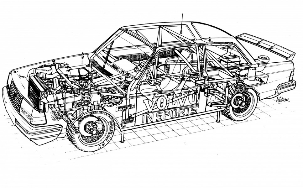 Herbert Müdsams röntgenbild visar hur stora förändringar en bil i standardvagnsracing kunde ha på 1980-talet. Titta till exempel på snabbtankningssystemet!