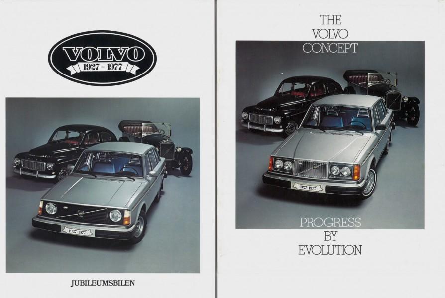 Två broschyrer från 1977, den svenska till vänster och den för USA till höger.