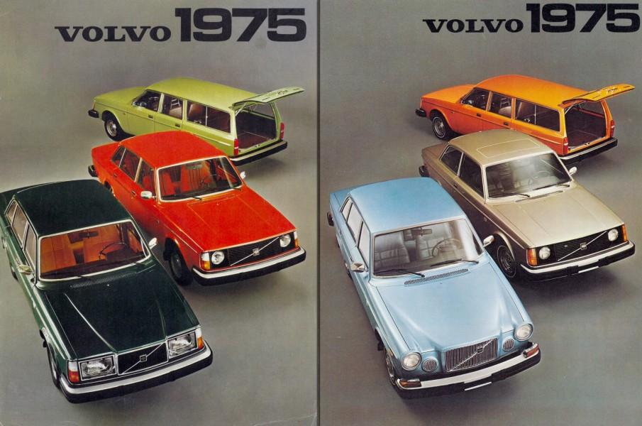 1975 års modellprogram. Den svenska broschyren är till vänster och den amerikanska till höger.