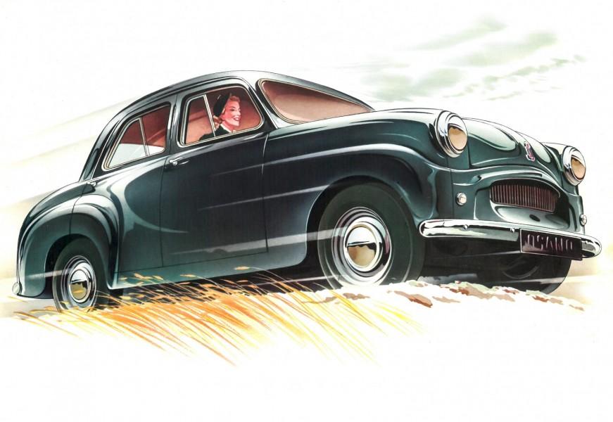 Trots ett minimum av utsmyckning lyckades broschyrtecknaren få fram ett nobelt utseende. Kvinnan bakom ratten kan inte vara mer än fem fot lång.