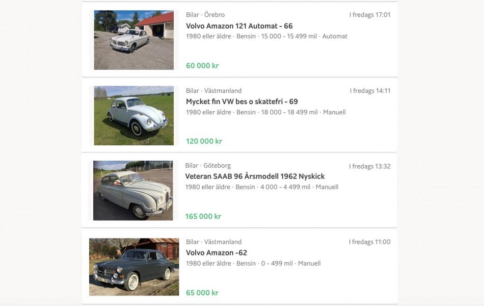 Här är klassikerbilarna som säljer bäst på Blocket!
