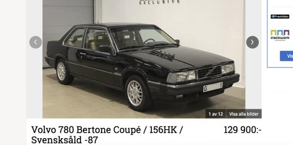 Volvo 780 presenterades tidigare men det var först som 1987 års modell som den började säljas här. Den var då den dyraste bilen från Sverige.
