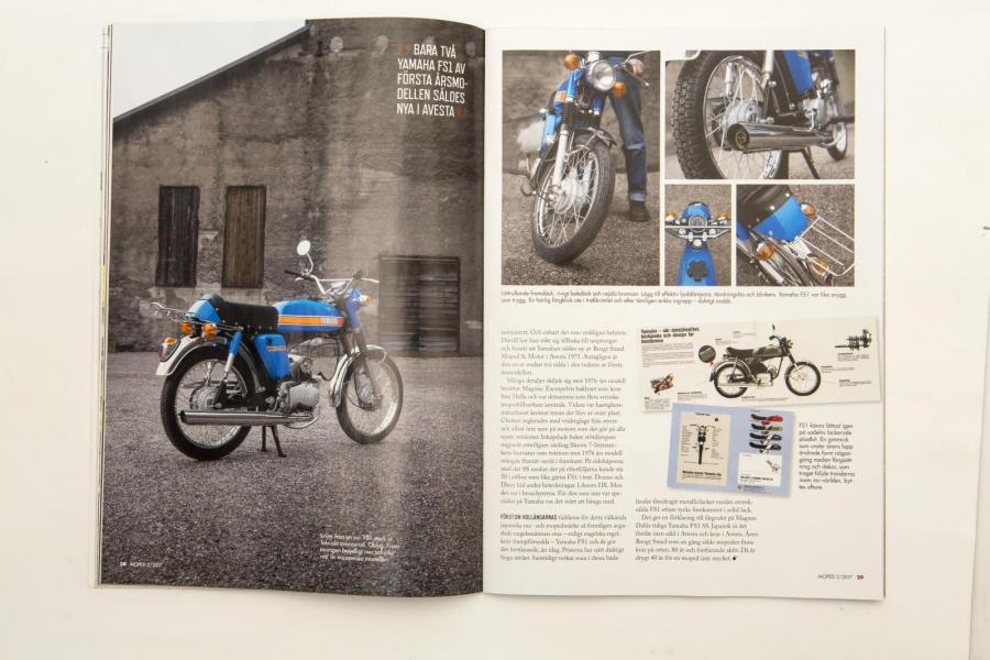 Yamaha FS1 1975. Mopeds superfotograf Simon Hamelius fångade Magnus Dahls läckra blåing i Avesta.