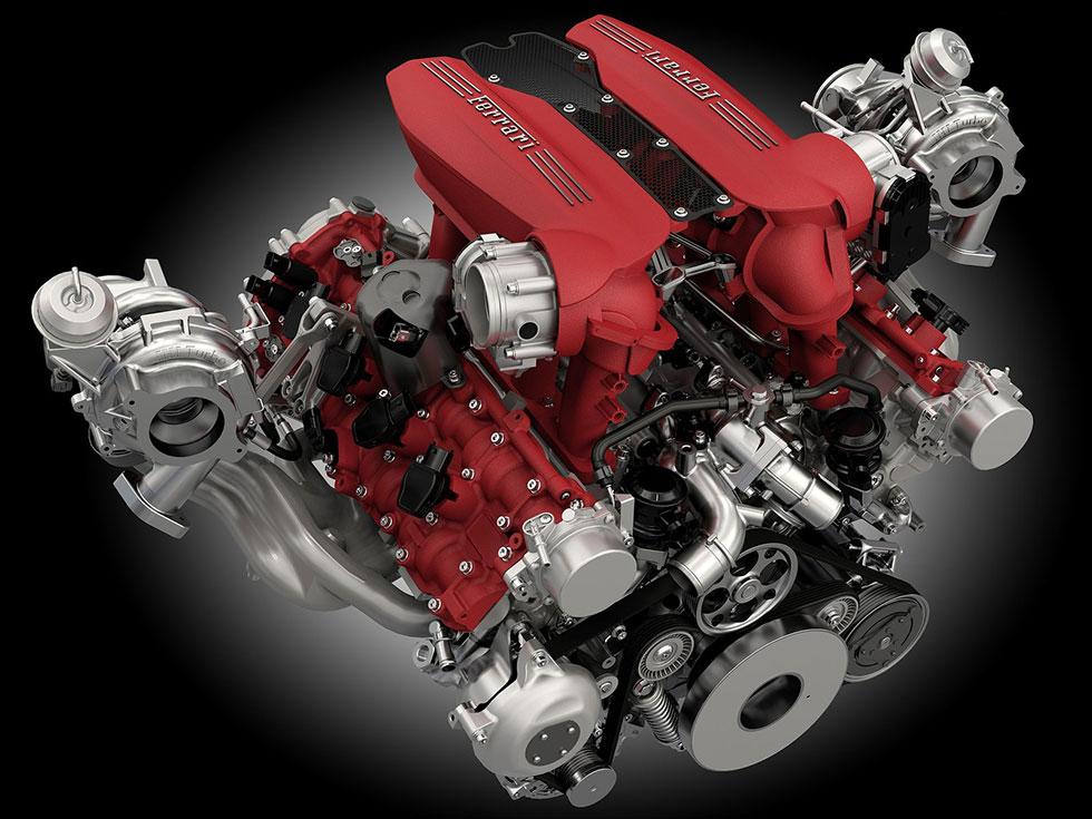 Ferraris 3,9-liters V8 med biturbo.