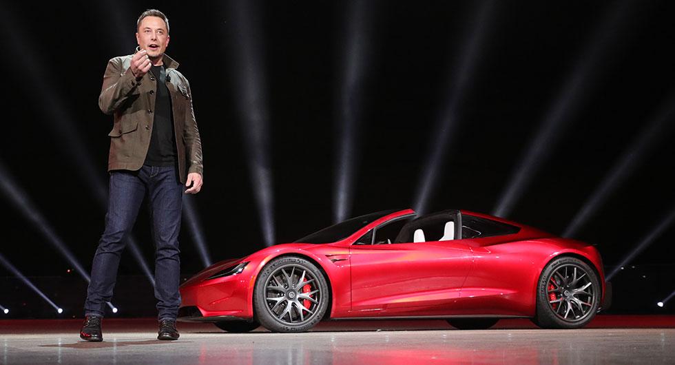 Elon Musk på lanseringen av Tesla Roadster.