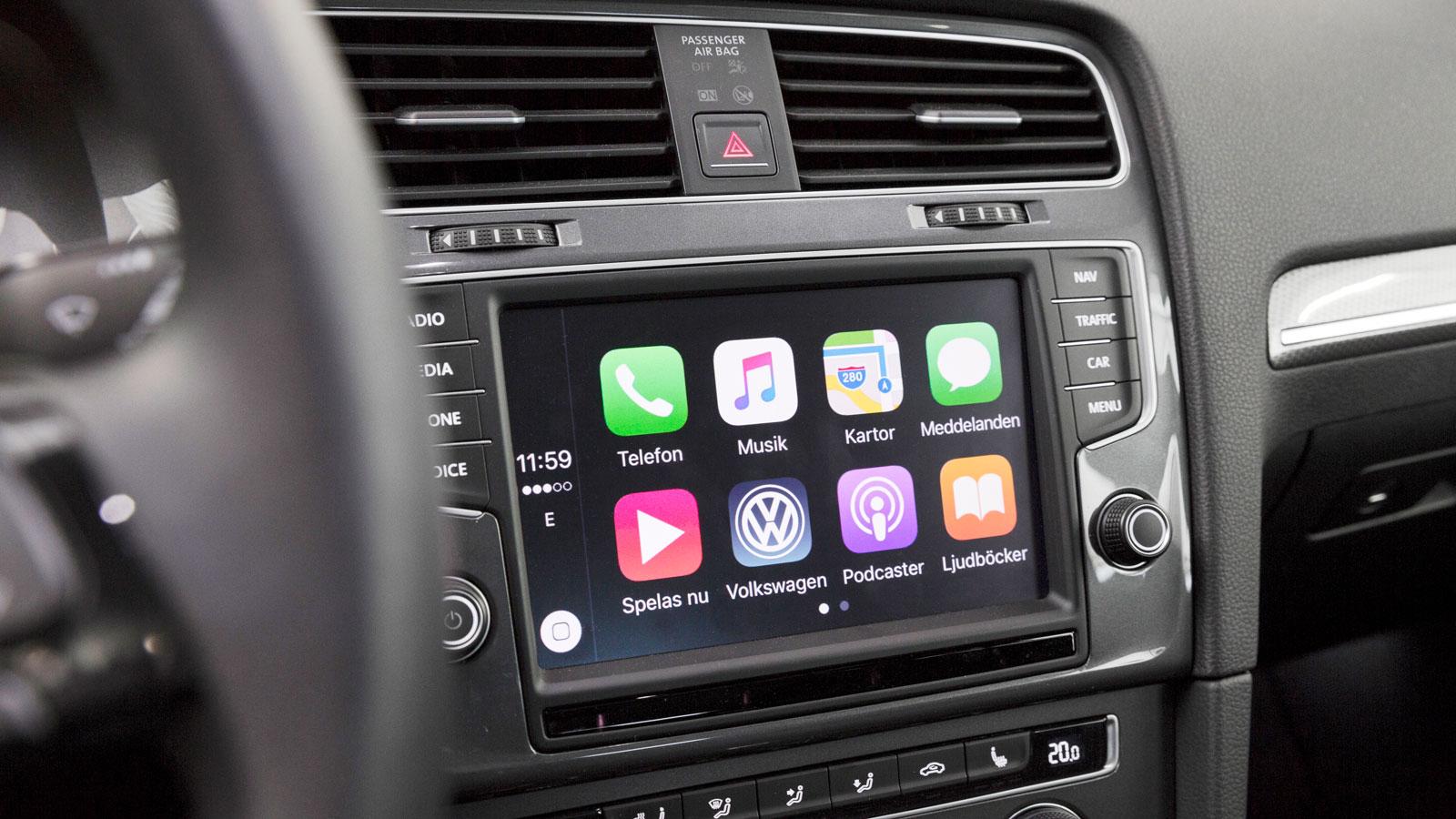 Volkswagen: Vi gillar VW:s infotainment. Det är inte lika tillkrånglat som i vissa andra konkurrenter från samma land. Systemet är föredömligt lättanvänt med bra touchdisplay.