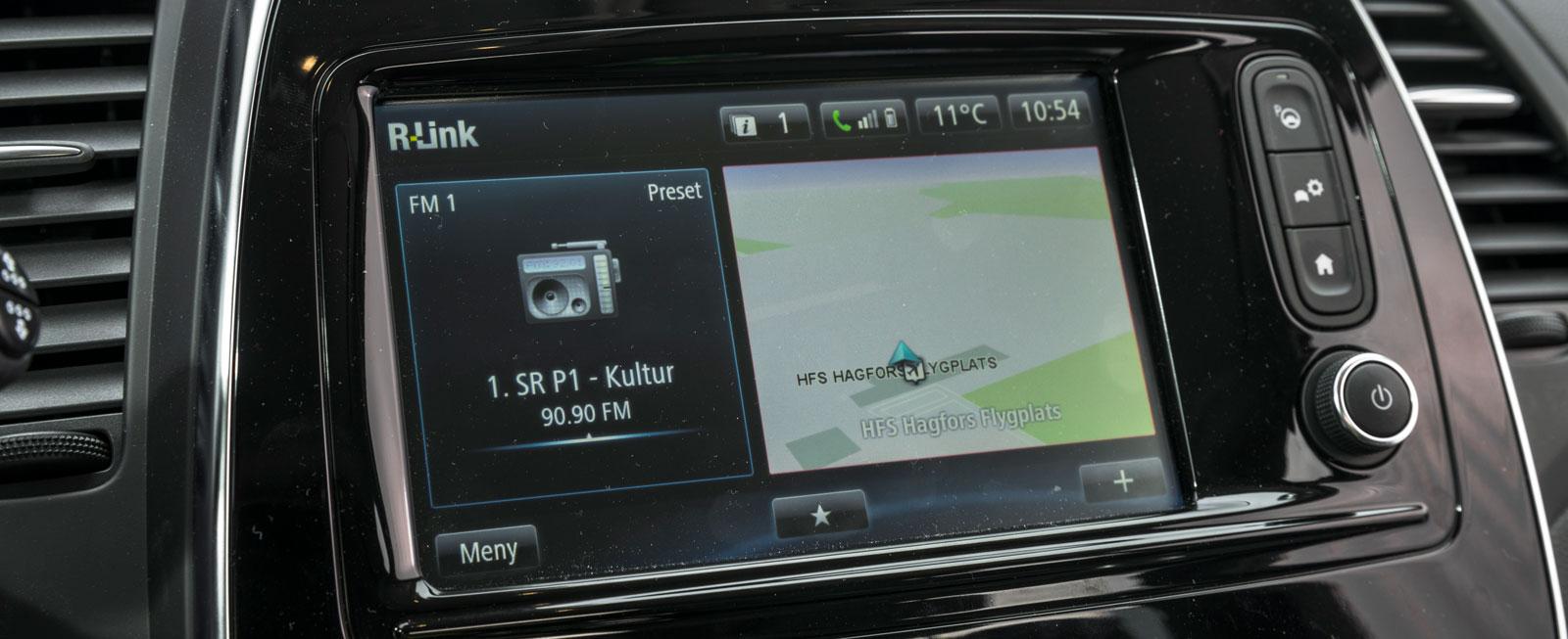 Renaults R-Link är tillval. Som helhet håller systemet i stort sett samma klass som Opels, men är krångligare att använda. Minus för att bara Android-telefoner kan speglas.