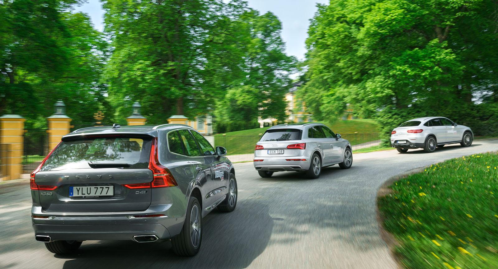 Körkomfort av hög klass utmärker alla tre, men på sämre vägar är Audi och Volvo bättre än Mercedes.