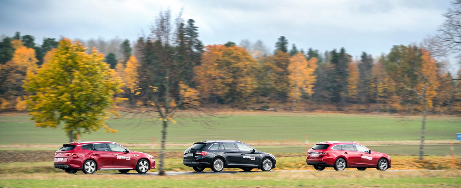 Med samma kulör hade det varit svårt att skilja på Kia Optima, Skoda Superb och Mazda 6.