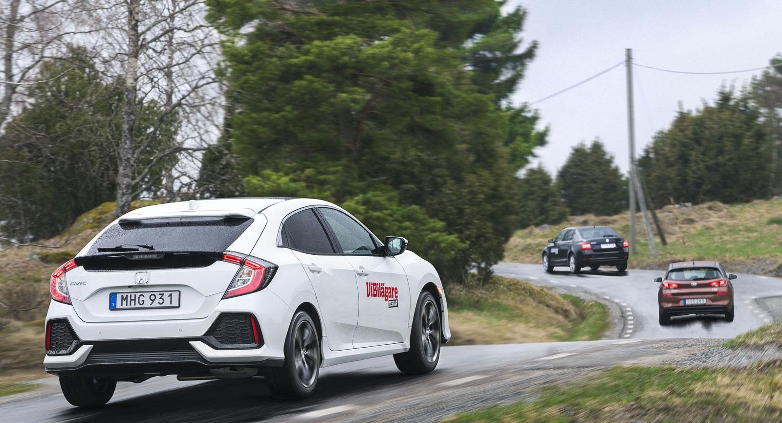 Test: Honda Civic, Hyundai i30 och Skoda Octavia (2017)