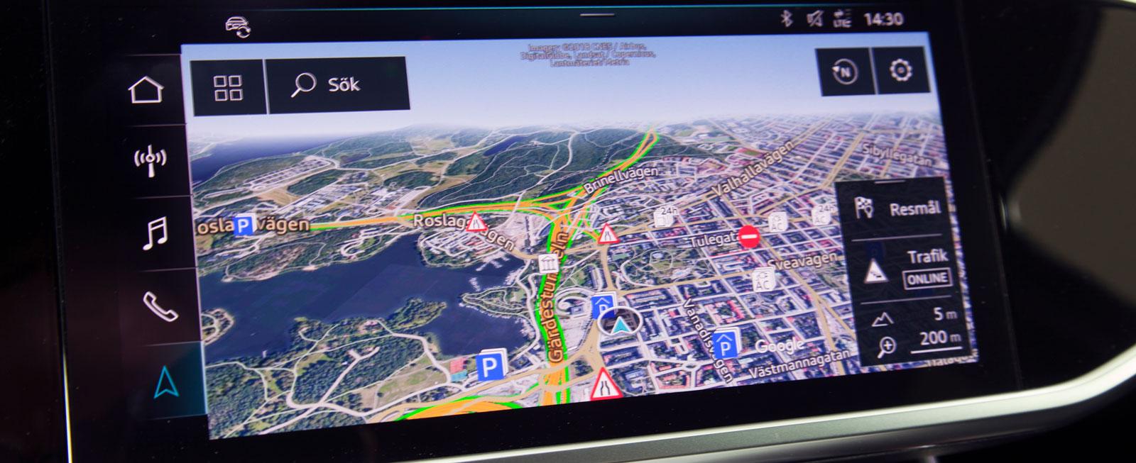 """Audis pekskärm omfattar bland annat """"Google-kartor"""" som ger oöverträffat autentisk information parad med stor tydlighet."""