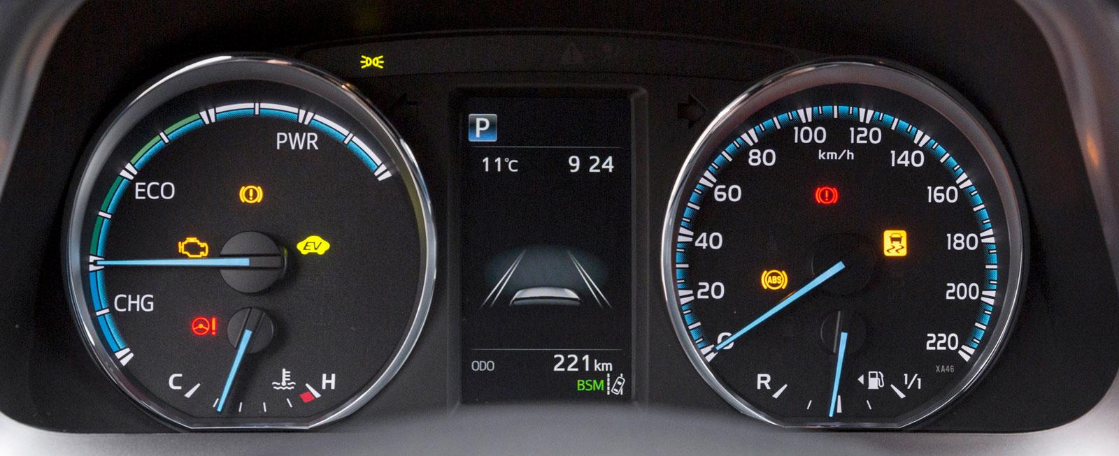 """Toyotas instrument är snarlika dem i Kia men istället för varvräknare finns en (nästan onödigt stor) """"kraft- och laddningsmätare"""" för hybridsystemet."""