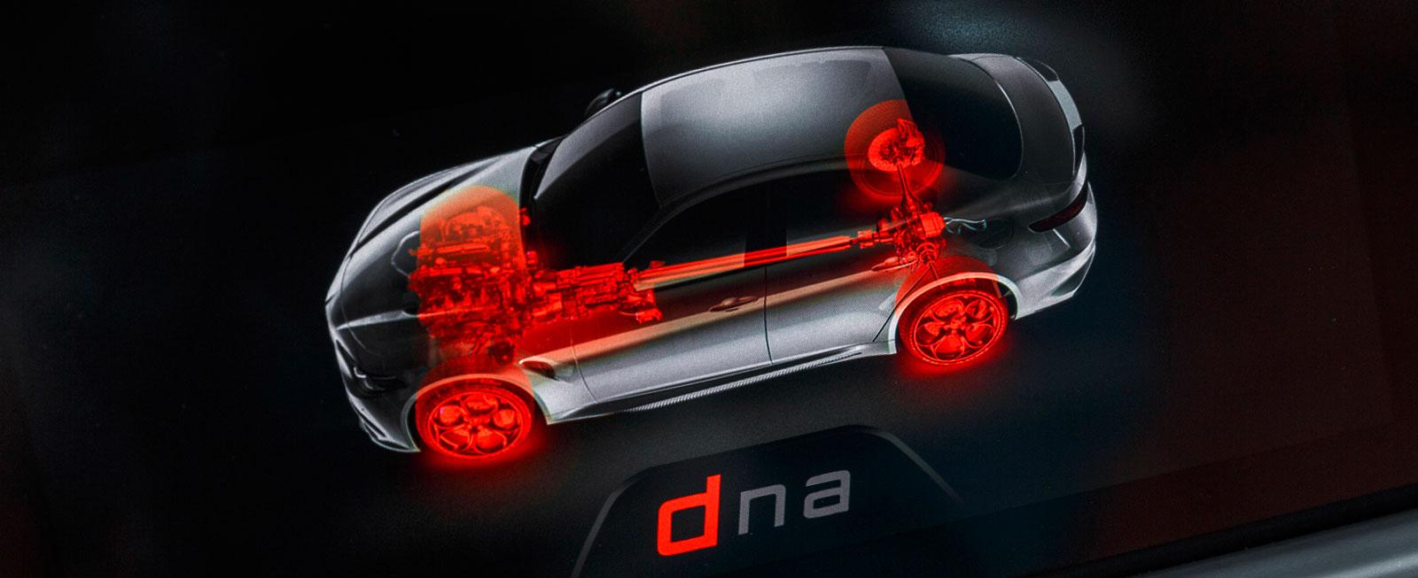 """Tre olika körlägen med Giulias """"DNA-vred"""" – men i den här bilen vill man köra på hetaste läget nästan jämt."""
