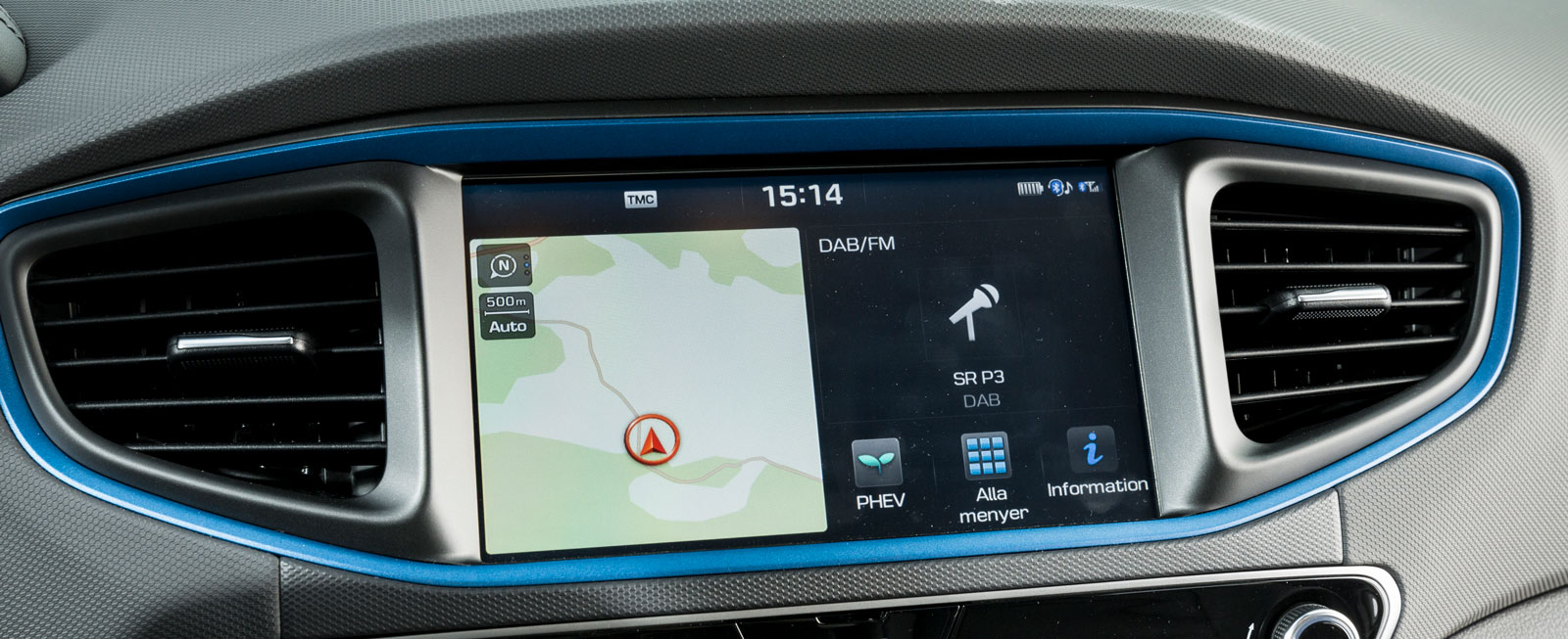 Systemet känns igen från andra Hyundai/Kia. Ioniq är ensam i testet om ett vanligt vred till kartzoom och att bläddra i listor, men peka går också bra.
