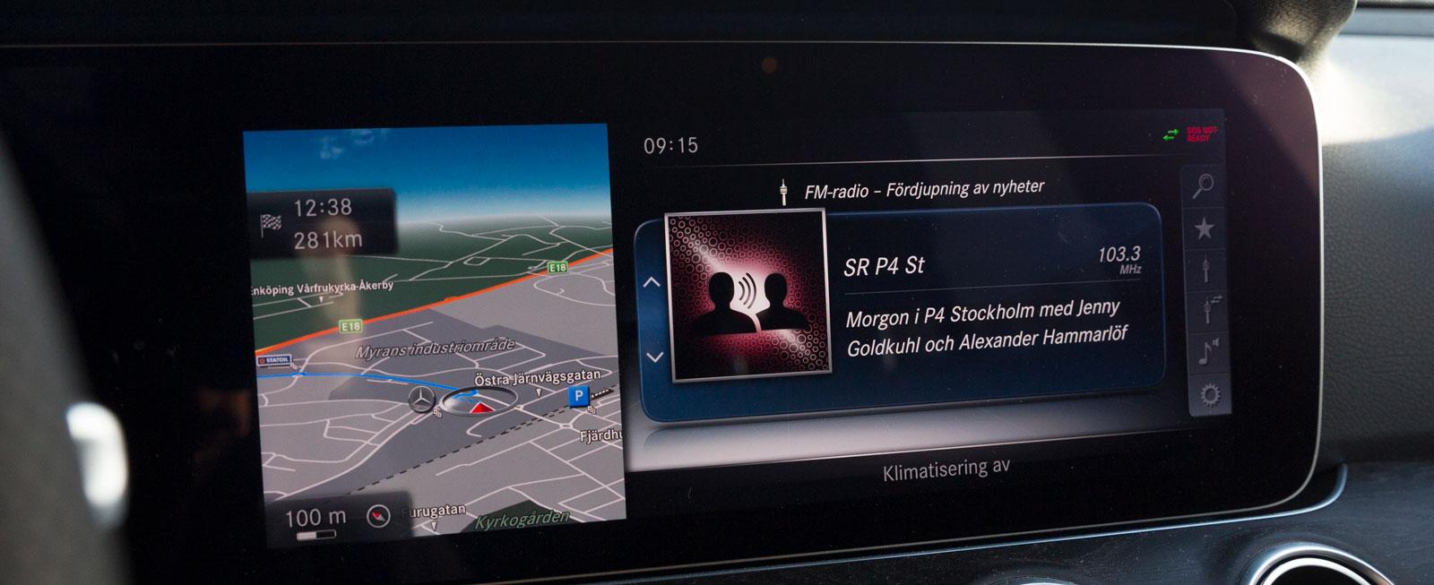 Testbilen var extrautrustad med Widescreen Cockpit, pekplatta, vindrutedisplay och Command online navigation. Det ger många möjligheter att få information.
