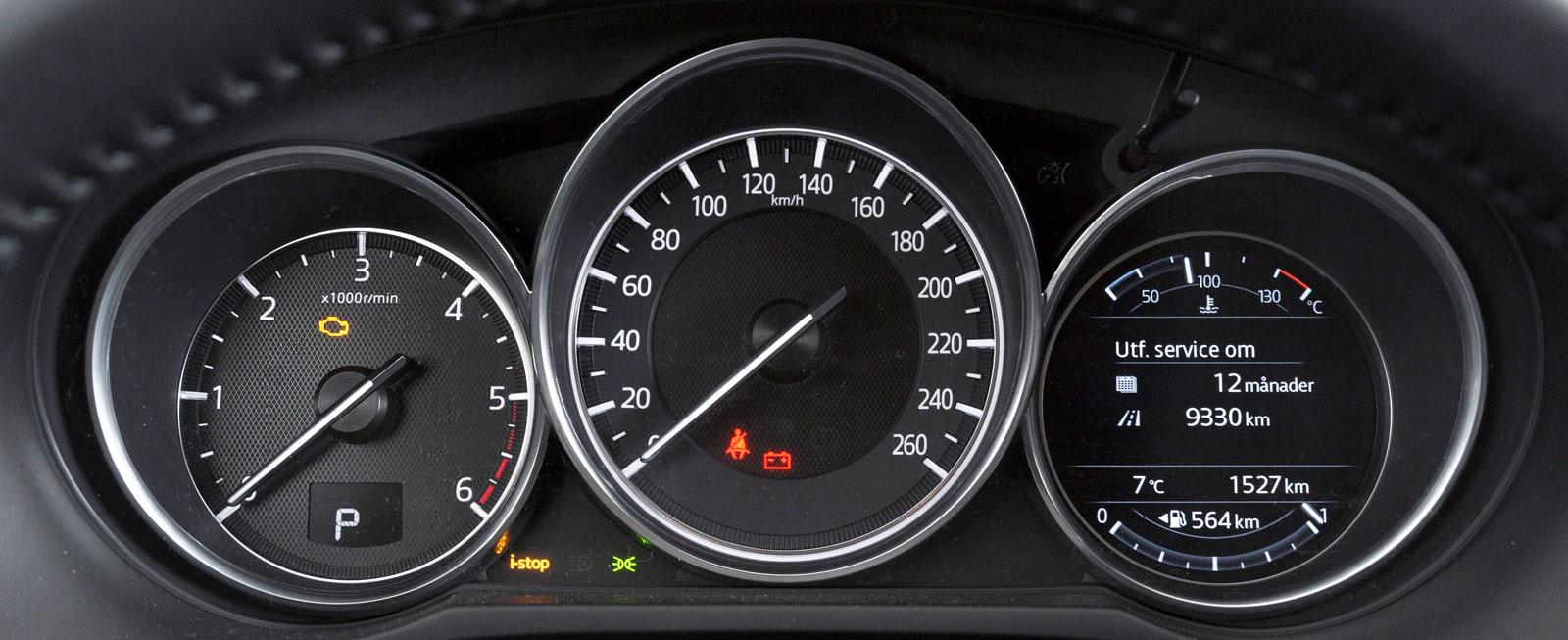 Mazda kör med tre instrumenttavlor, stor hastighetsmätare i mitten, liten varvtalsmätare till vänster, färdinformation till höger. Yttertemp alltid synbar. Genomtänkt och informativt.