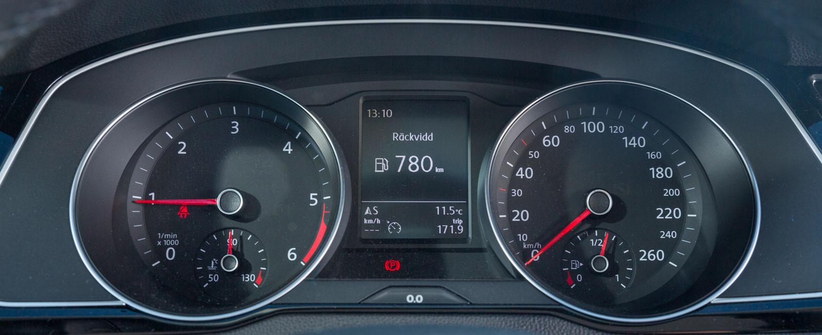 Mätartavlorna är stora, runda, tydliga och djupt försänkta. Mellan dem finns en display för färddator, navigation och telefon. Typiskt funktionell VW-layout!