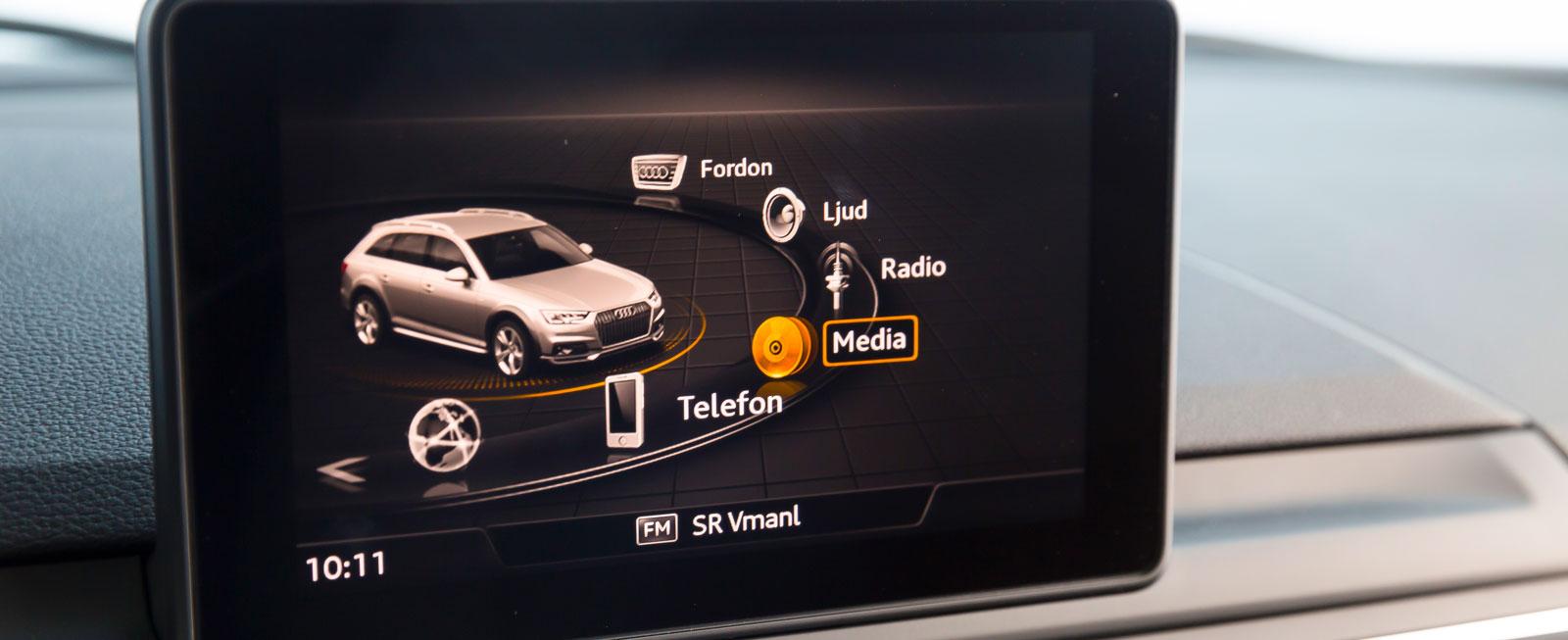 Audis system har tilltalande grafik och lättbegripligt gränssnitt. Det finns olika system med olika omfattning att välja bland, testbilens var av något enklare sort.