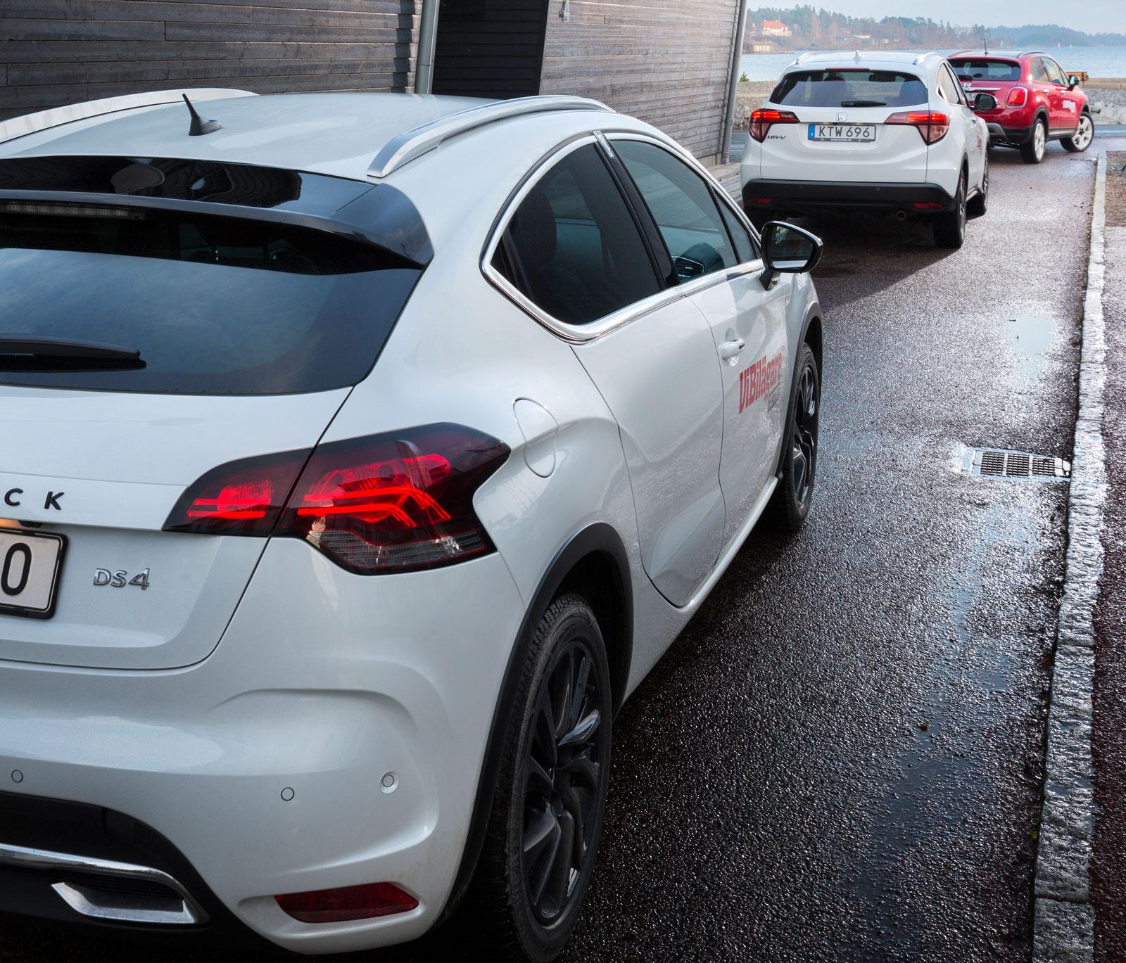 DS 4 Crossback och Honda HR-V påminner om varandra, Fiat 500X är alldeles egen i formerna.