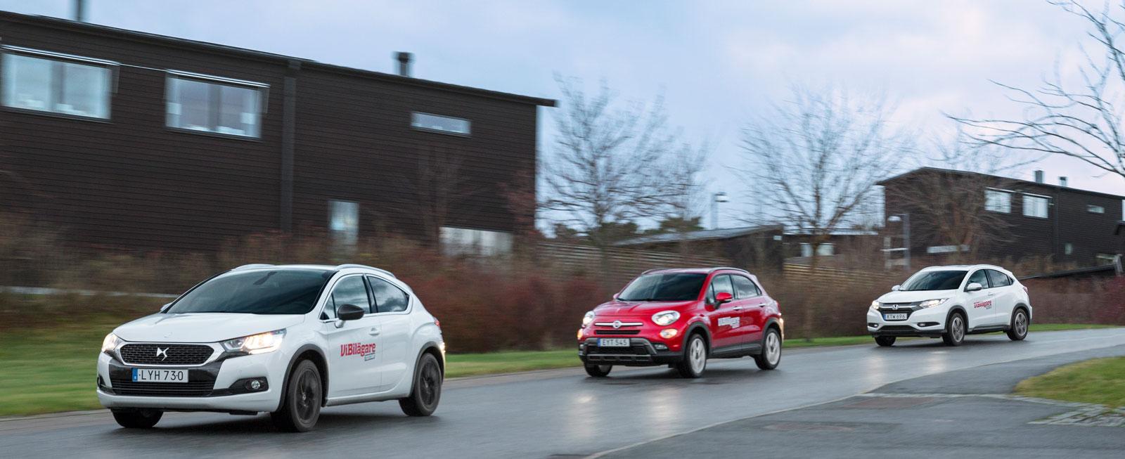 DS 4 baseras på Citroën C4, Fiat 500X på Jeep Renegade och Honda HR-V på Honda Jazz.