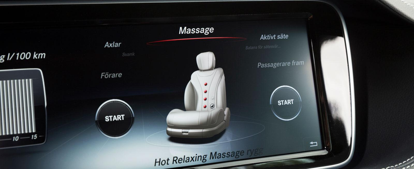 Detaljerade stolsinställningar finns i menyskärmen. Vissa massageprogram tar hjälp av stolsvärmen för att mjuka upp trötta ryggar.