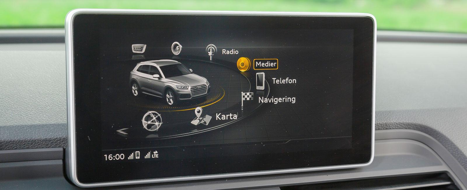 Audis multimediasystem rymmer mängder av funktioner. Krispig grafik och enkelt handhavande, både från vred/fingerplatta och knappar på ratten.