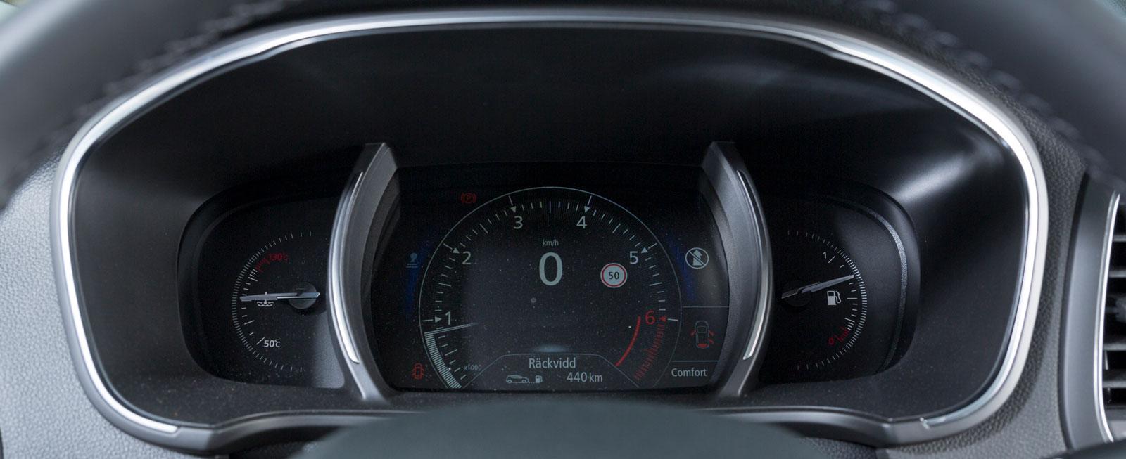 Méganes huvudinstrument känns igen från andra Renault och kan varieras i utseende.