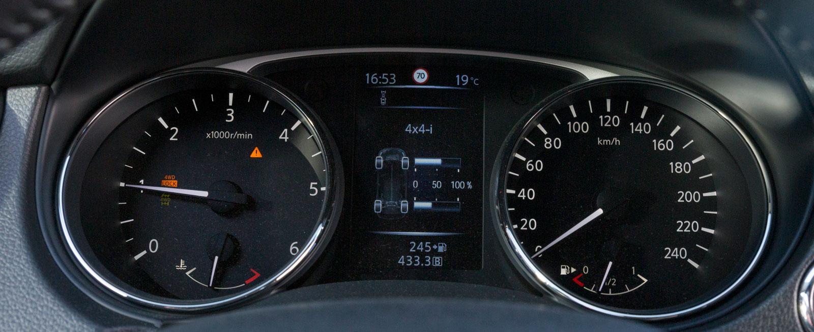 Kromring runt mätarna kan blänka irriterande ibland. Bra färgdisplay med indikering för 4WD-systemet, navigation, verkligt däcktryck, samt besparing av CO2-utsläpp vid autostopp.