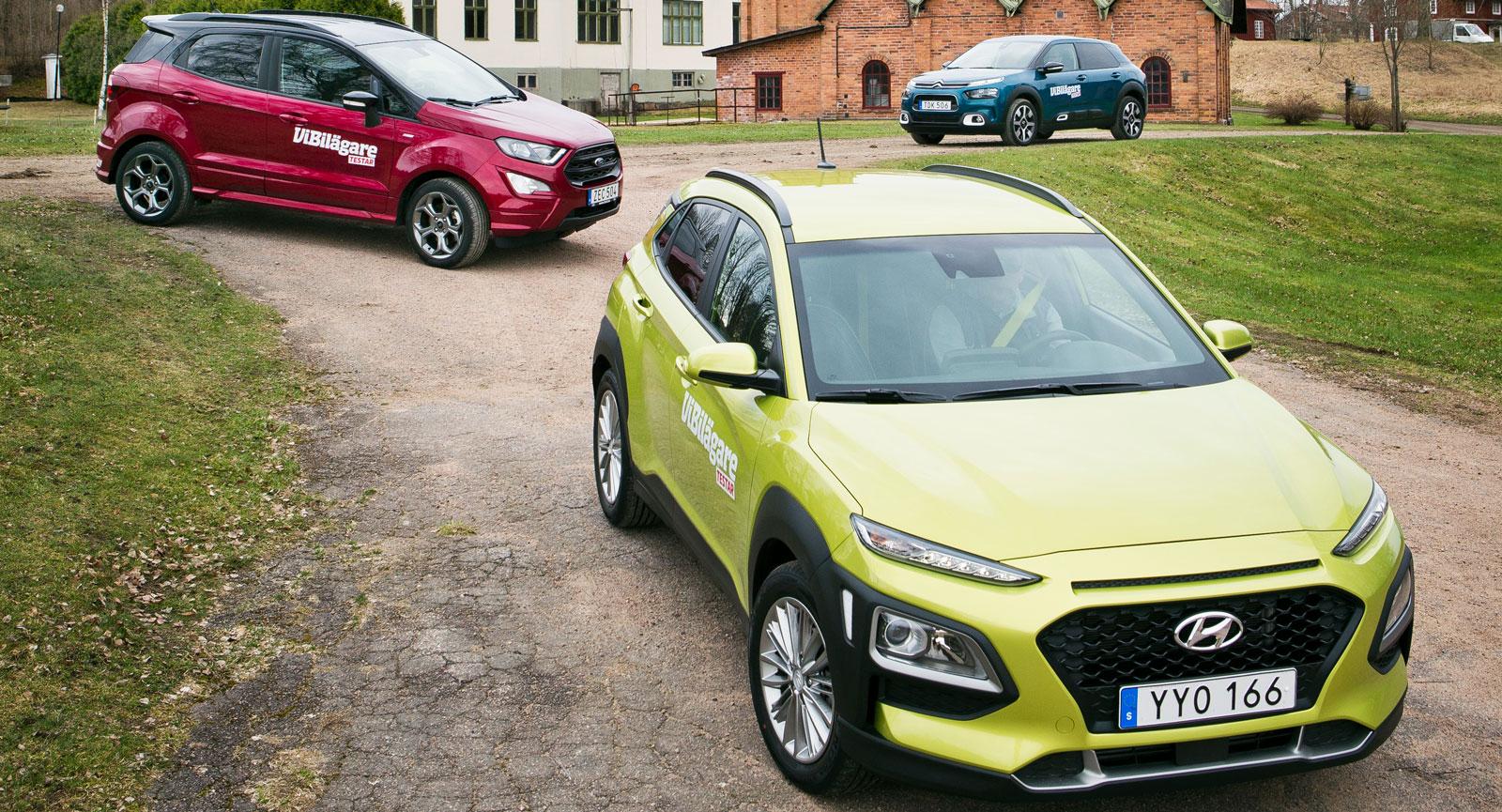 Test: Citroën C4 Cactus, Ford EcoSport och Hyundai Kona (2018)