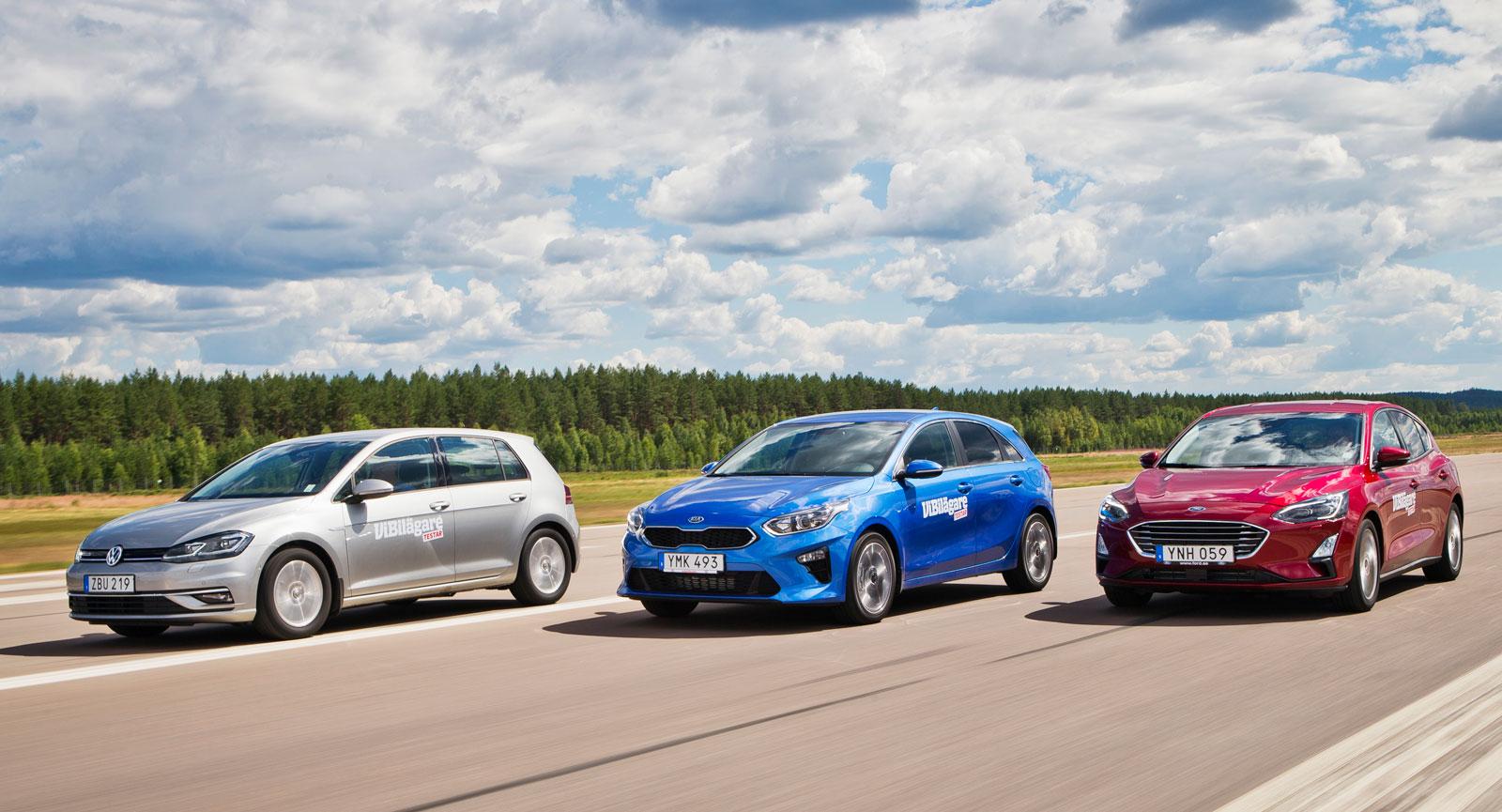 Två nya och en lite äldre. Ford Focus och Kia Ceed är alldeles nykläckta, medan Golf debuterade redan 2012. Sedan dess har dock VW genomgått en hel radda uppdateringar.