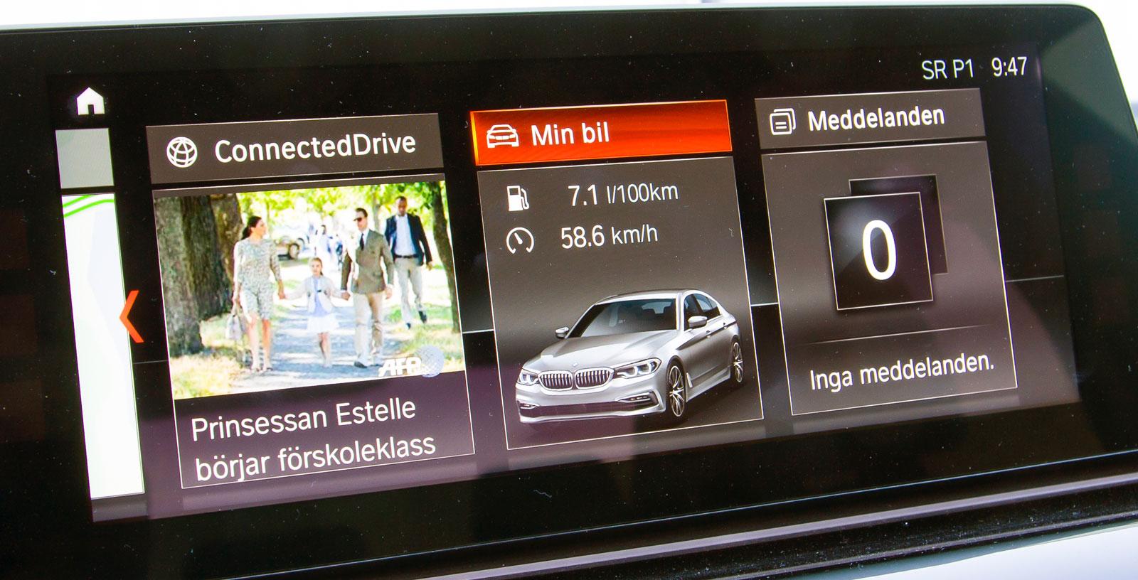 BMW kan manövreras på fyra sätt: röst, gester, pek och med iDrive-vredet. Mycket tydlig grafik med informativ vägledning vidare från den funktion man befinner sig i.
