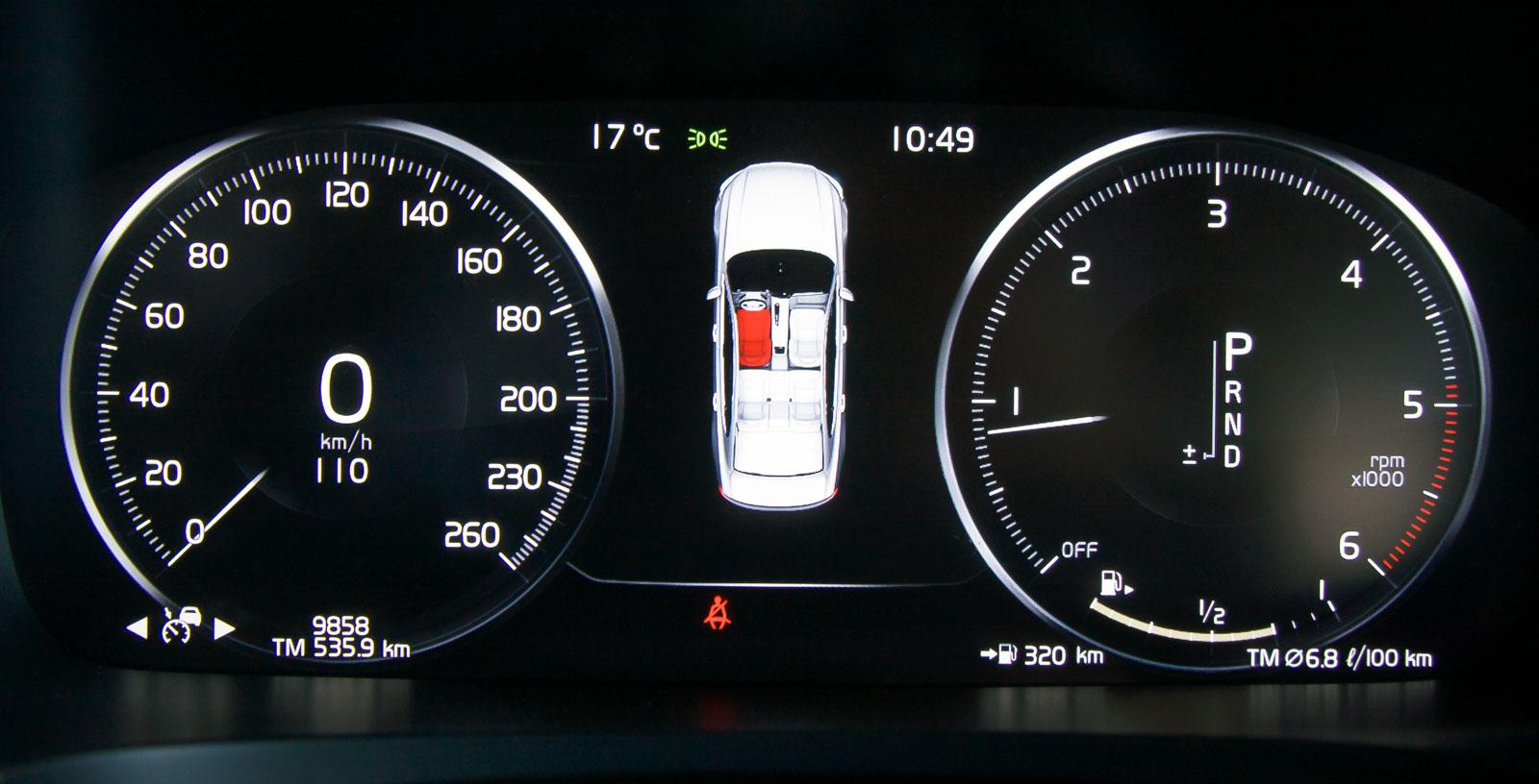 Volvos visning är distinkt och kan också varieras i utseende. Exempelvis kan navigationskartan frammanas också här.