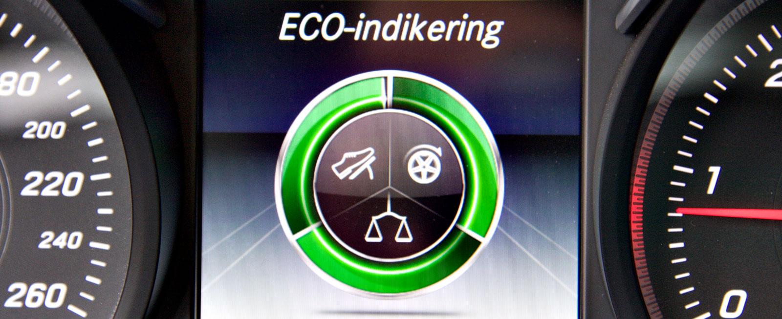 """I körprogram """"Eco"""" kan man samla bonuskilometer genom att köra snyggt. """"Frihjul"""" som i Audi och Volvo finns dock inte."""