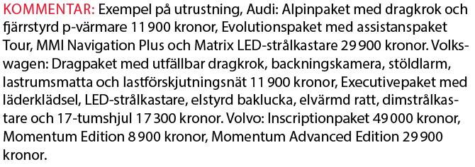 Testvärden: Volvo V60, Audi A4 Avant och Volkswagen Passat Sportscombi (2018)
