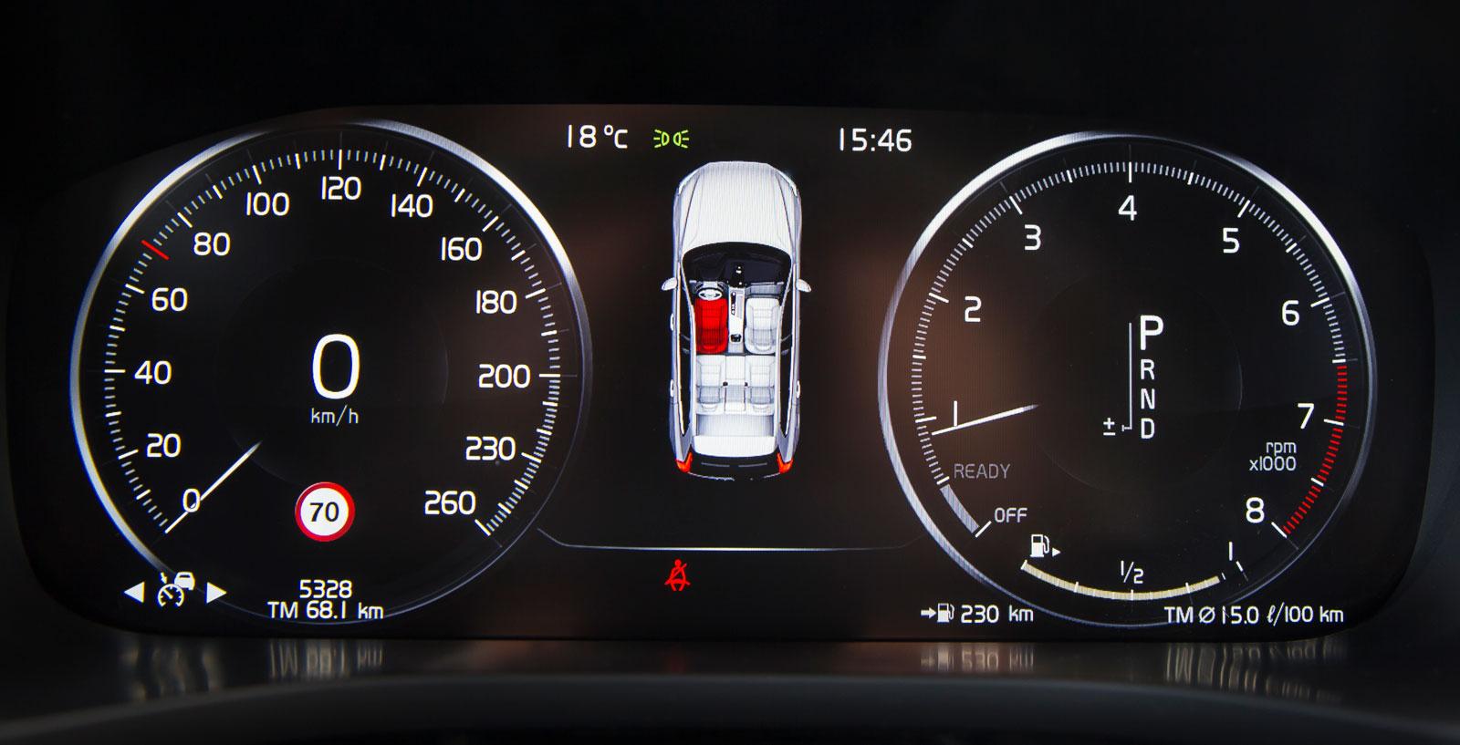"""Instrumentrundlarna i XC60 kan varieras i utseende, här """"chrome"""". Bilbältesläget kan knappast åskådliggöras tydligare än så här."""