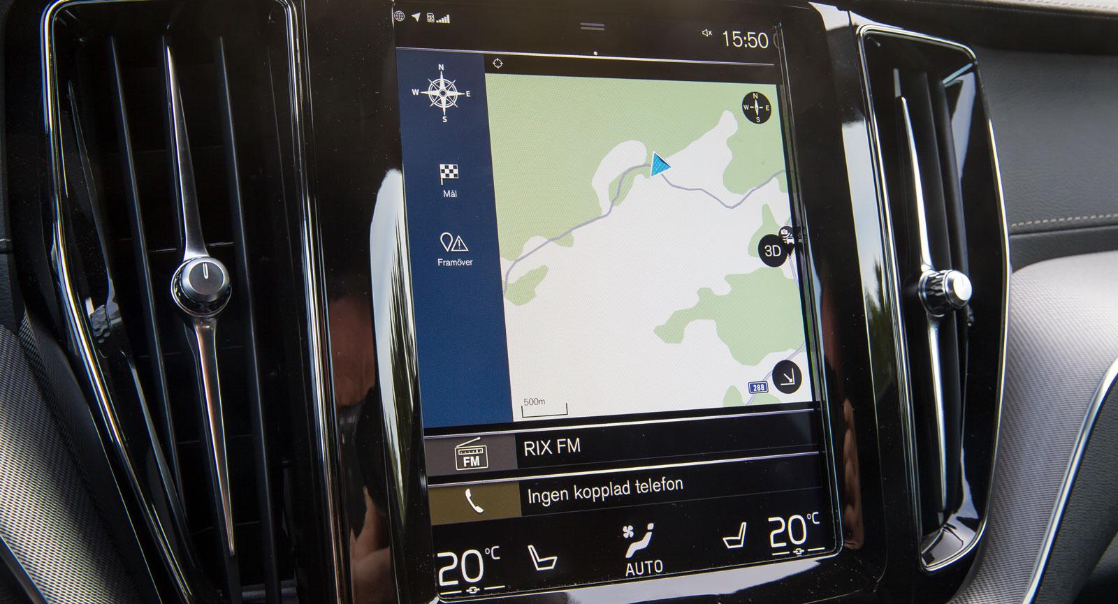 Ge Volvos initialt virriga uppläggning ett par dagar, sedan fungerar allt intuitivt och snabbt. Grafiken är inte alldeles state-of-the-art och skärmen blir snabbt kladdig.