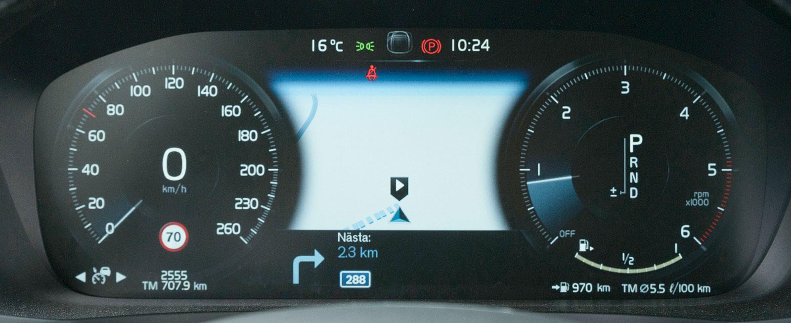 Instrumenten i V60 är av samma snitt som i alla nyare Volvomodeller och inget fel i det – klar grafik och enkelt att frammana olika information.